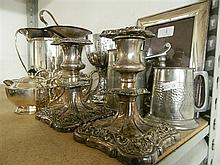 Quantity of Silver Plate & Pewter incl; Beer Mugs, Tea Pot, Candle Holders, Crystal Salt & Pepper Shakers etc