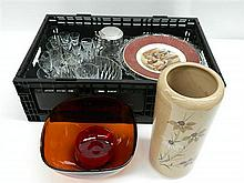 Crate of Sundries inc Assorted Crystal Wares inc Glasses, Tankards etc