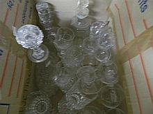 Box Of Crystal Wares inc Decanters Tumblers & Etched Wine Glasses