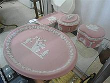 4 items pink Wedgwood Jasperware. 2 lidded dishes, 2 plates.