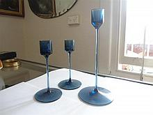 3 Wedgwood glass candle holders
