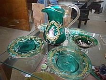 6 pieces Venetian green hand painted glass