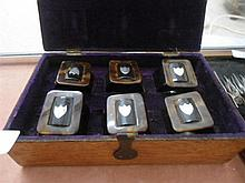 Boxed set tortoise shell and silver napkin rings