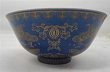 A Chinese Blue Glazed Bowl, 15.5cm