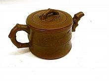 A Chen Ming Yuan Terricotta Tea Pot With Bamboo Shaped Handle and Spout 13cm dia x 8cm