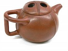Chinese Yixing Teapot Of Melon Form 11cm dia x 9cm