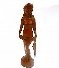 A Balinese Wood Carved Statue of A Lady 50cm