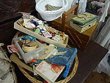 Various items including accordion sewing box, cottons, threads, material pieces  etc