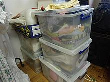 Six boxes of mixed linen, clothing, materials etc
