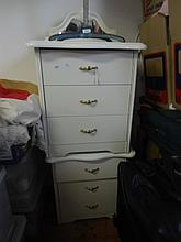 Two Queen Anne style bedside tables, contents included
