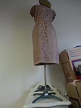 Vintage Linen covered  mannequin on metal stand, with lace dress and hat