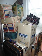 Eighteen boxes and suitcases of assorted clothing