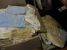 Various linen table cloths and assorted linen (trunk not included)