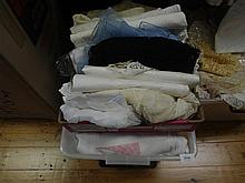 A box of linen including table, supper cloths and damask napkins