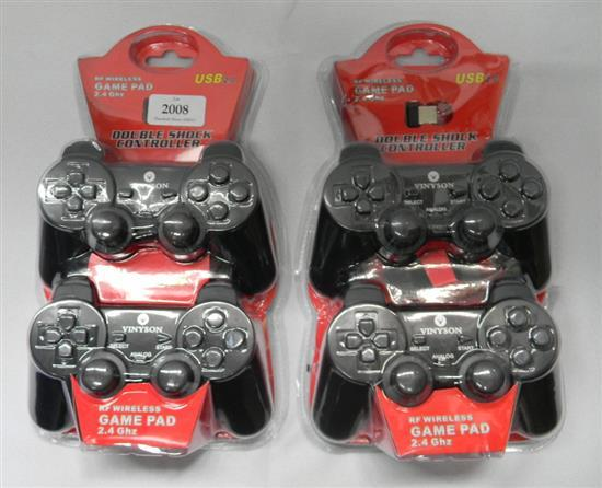 Four Vinyson Double Shock Controllers RF wireless game pad 2.4Ghz USB 2.0
