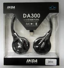 A pair of Inda DA300 blue tooth headphones