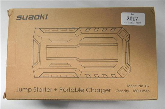 A Suaoki model G7 jump starter portable charger in re-sealed box