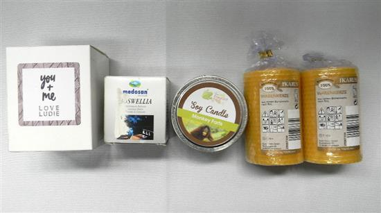 Five assorted scented & other candles