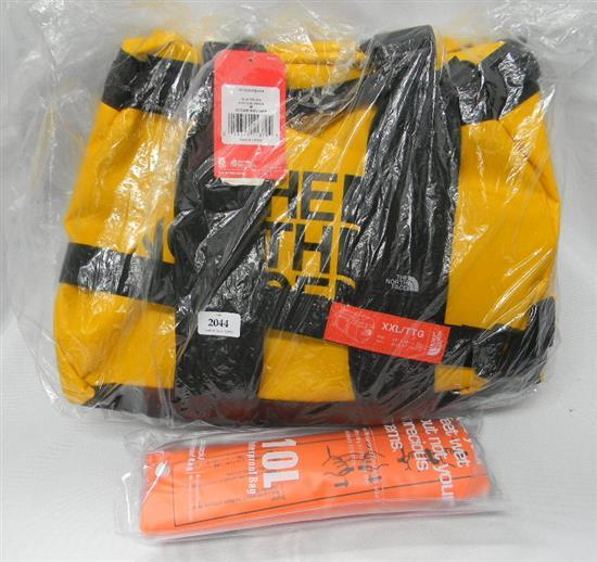 The North Face 150litre duffel bag plus ten litre water proof bag
