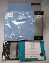 Two blue double bed sheet sets plus two extra assorted pillow cases