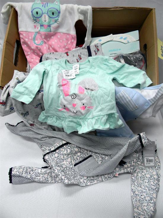 A box of baby clothing incl. bibs, shoes & onesies