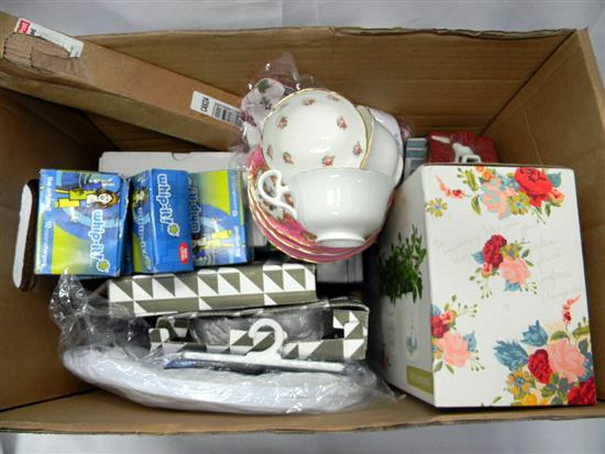 A carton of homewares incl. whip-it cream chargers etc.
