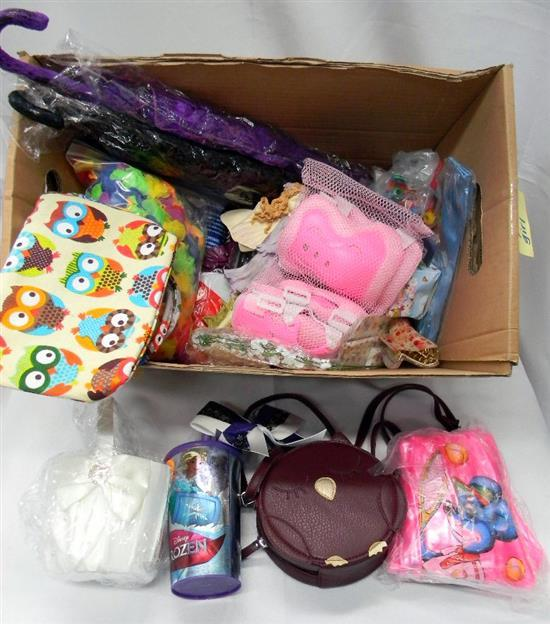 A box of young girl toys & accessories incl. umbrellas, hair ties etc.