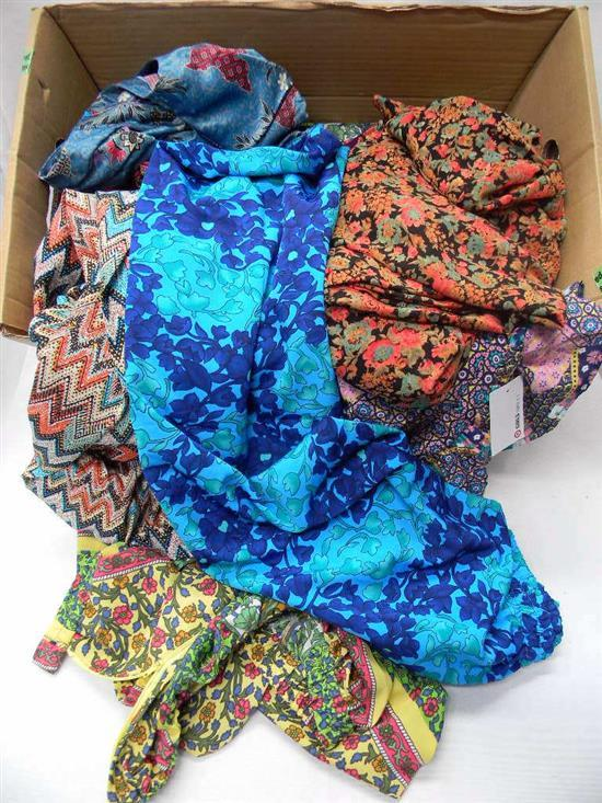 A box of floral & other printed clothing