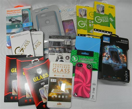A bag of assorted mobile phone cases & screen protectors