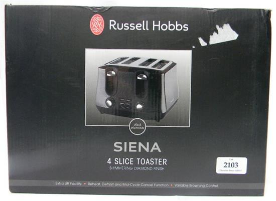 A Russell Hobbs Siena four slice toaster in re-sealed box