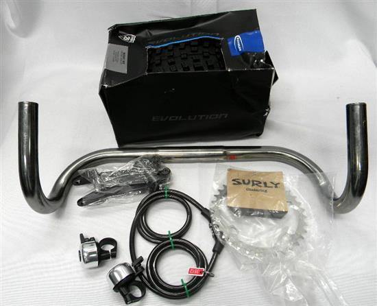 Bicycle spares incl. Schwalbe nobby nic tyre, handle bars etc.