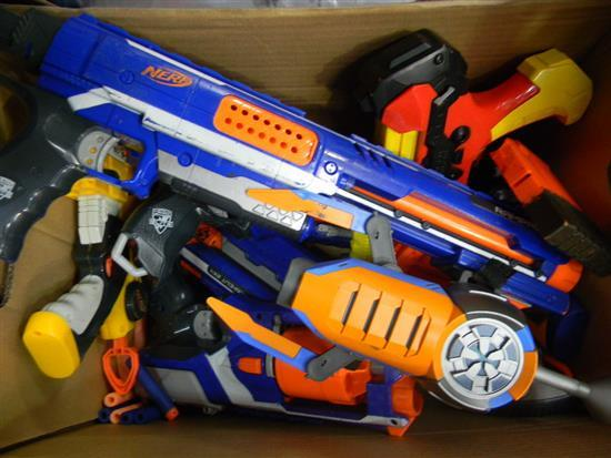 A box of various boys toys incl. Nerf & other toy guns, some used