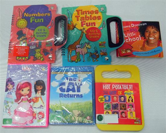 A bag of assorted children & educational DVD's & CD's