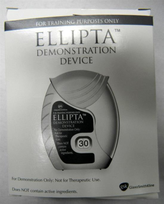 A box of Ellipta demonstration devices