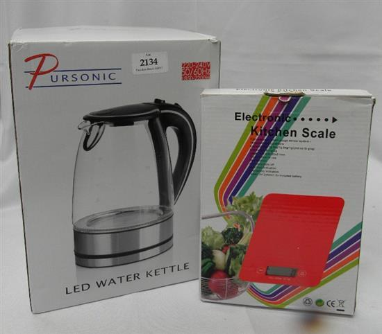 A Pursonic LED glass kettle & kitchen scale