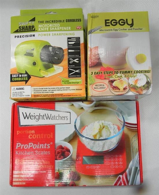 The homemaker set incl. kitchen scales, knife sharpener & Eggy