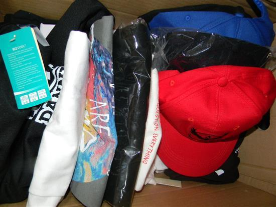 A box of mens caps & t-shirts
