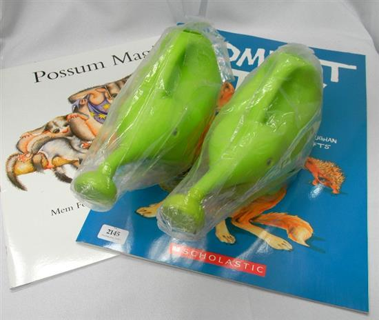 Two elephant watering cans plus oversized Wombat Stew & Possum Magic books
