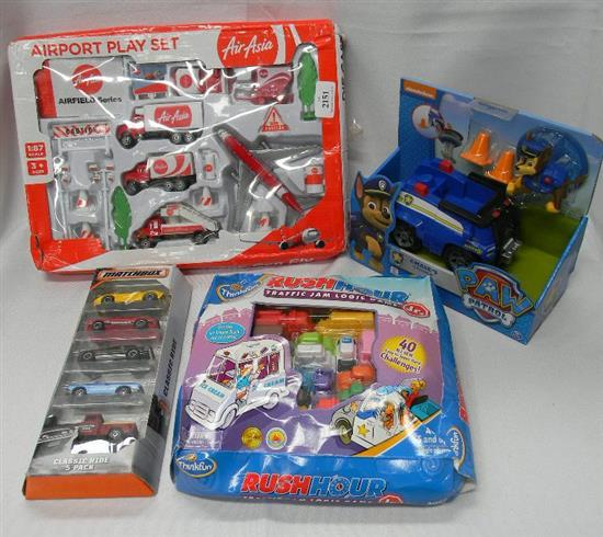 A quantity of boys toys incl. match box cars, Paw Patrol etc.