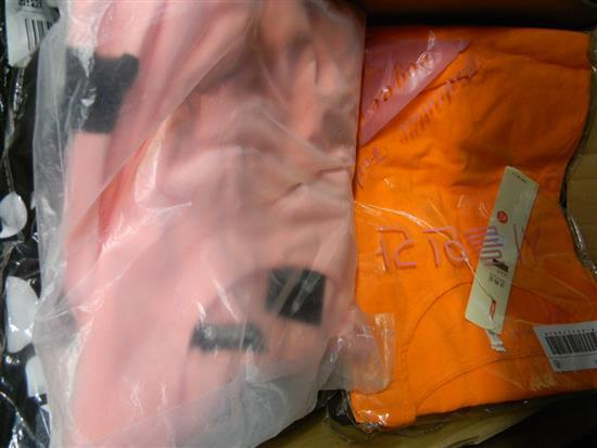 A box of ladies packaged clothing