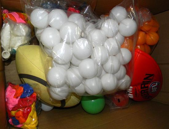 A box of assorted balls incl. ping pong etc.