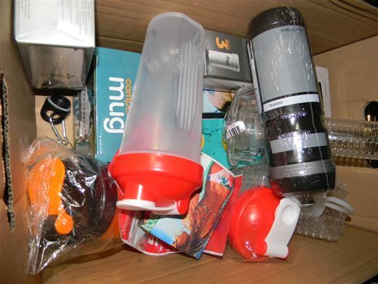 A box of various drinking vessels & coolers etc.