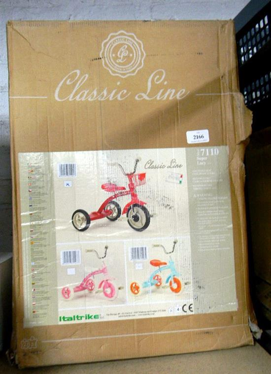 A classic line super Lucy tricycle, in re-sealed box