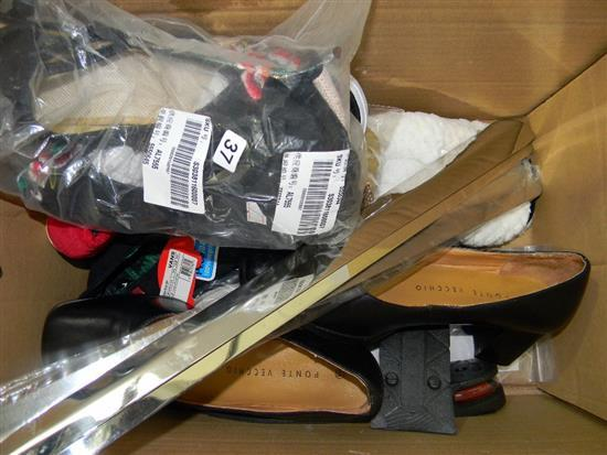 A box of assorted shoes, accessories, single shoes