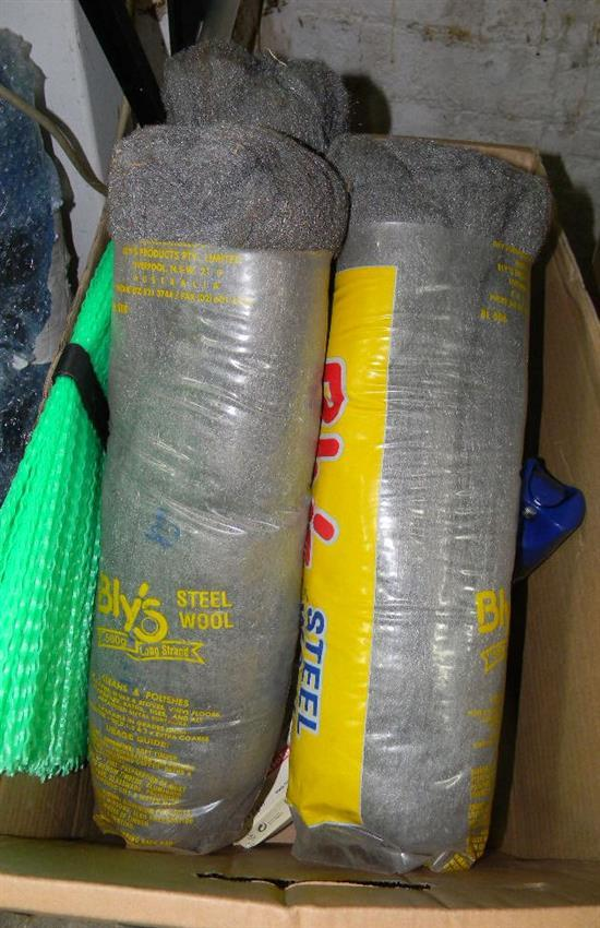A box of assorted cleaning supplies incl. steel wool etc.