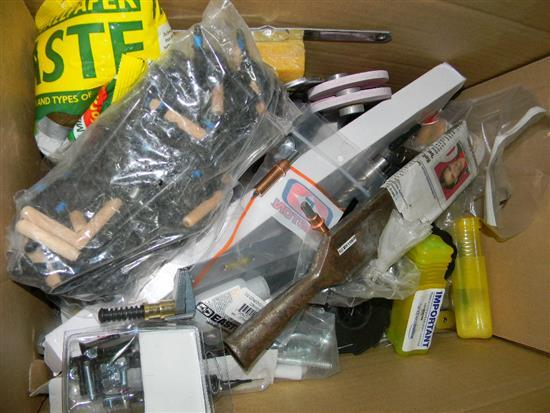 A box of assorted hardware lines