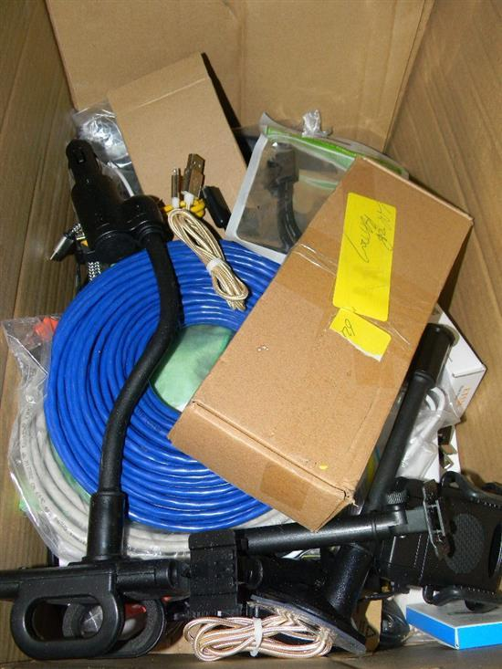 A box of assorted AV & computer cables