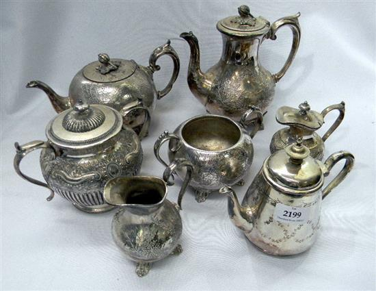 A four piece Britannia Metal tea set plus other (7)