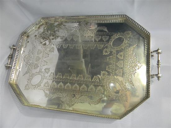 A silver plate gallery tray