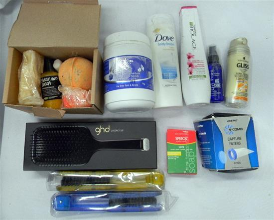 A hair care kit incl GHD paddle brush etc.